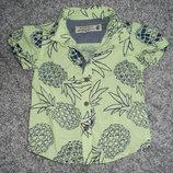 яркая стильная рубашка некст на 6-12мес в идеале