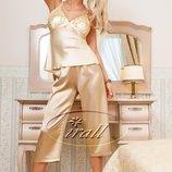 Parisa атласная пижама комплект набор нежного цвета Пижама капри атлас песочного цвета