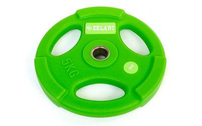 Блины полиуретановые диски полиуретановые с хватом и металлической втулкой 5336-5 вес 5кг, d 28мм