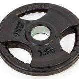 Блины обрезиненные диски обрезиненные с тройным хватом и металлической втулкой 8122-7,5 вес 7,5кг