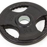 Блины обрезиненные диски обрезиненные с тройным хватом и металлической втулкой 8122-5 вес 5кг