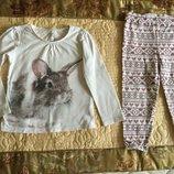 NEXT. 1,5-3,5 год. Пижамка с Зайкой. Натуральная. Без катышек. Пижамка. Реглан Туника розовая длина