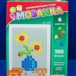 Мозаика, 150 фишек квадраты и треугольники, 6 цветов ,в коробке 26х17х4см Joy Toy 2712