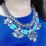Ожерелье колье украшение синее роскошнее