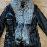 Кожаная куртка с мехом чернобурка
