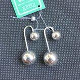 Новые серебряные серьги шарики Серебро 925 пробы