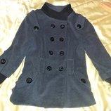 Стильное красивое серое короткое пальто деми, р. М-L 14 , воротник стойка, можно делать и отложным.