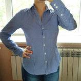 Белая приталенная блуза в синюю полоску H&M. Размер S