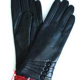 Женские кожаные зимние перчатки на натуральной овчинке