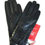 Женские кожаные перчатки лайка на шерсти