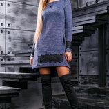 Утонченное, загадочное платье синего цвета с меланжевой нитью 42-48р