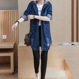 Женская удлиненная джинсовая куртка 7609