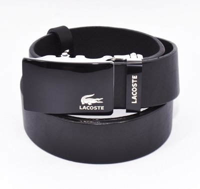 Ремень кожаный мужской автомат черный Lacoste 8006-314