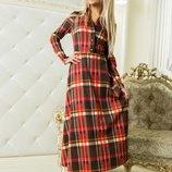 Платье Ткань фр.трикотаж. Застежки пуговицы. Цвета 116730 - клетка красная,