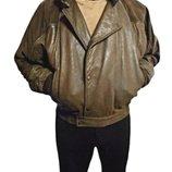 Идеальная мужская кожаная куртка пилот, бомбер на синтепоне Principe, размер L-3XL