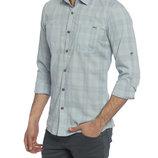 бледно-голубая мужская рубашка LC Waikiki в полоску