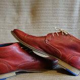 Темно-Красные эпатажные фирменные кожаные ботинки Manfield Англия 42 р