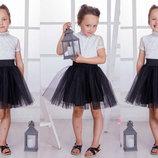 Детская стильная пышная юбка 3530 Фатин Атлас в расцветках.