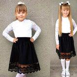 Стильная детская юбка 3550 Габардин Мулине Фатин в школьных расцветках.