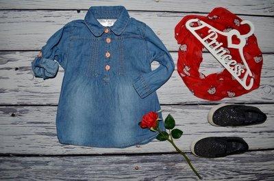 12 - 18 мес 86 см джинсовое платье туника рубашка блузка для модниц обалденно модная и эффектная