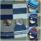 Классные зимние комплекты на мальчиков 52-54,шапка и снуд,на флисе