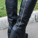 Стильные кожаные сапоги на высоком каблуке.Зима-весна 2019