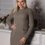 Теплое удобное приталенноеженское платье