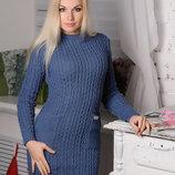 Теплое приталенноеженское платье с карманами, цвета разные