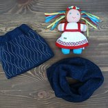 Зимняя шапка и хомут для девочки