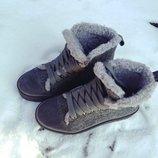 Зимние утепленные женские кеды / ботинки из валяной шерсти и натуральной замши