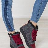 Зимние утепленные женские кеды / ботинки из валяной шерсти