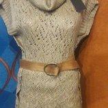 Женская вязаная туника-свитер, размер универсальный, в комплекте миттенки, гетры и пояс, р.42-46