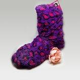 Женские домашние фиолетовые меховые сапожки р.35-37 Walmart Сша