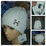 Hermes брендовая шапка с натуральным бубоном,шерсть,очень теплая