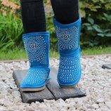 36-41 Отличное качество эко замша Угги. синие угги. голубые сапоги. с заклепками