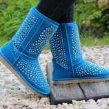 остались на 23 и 24,5 см Отличное качество эко замша Угги. синие угги. голубые сапоги. с заклепками