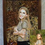 портрет по фото на заказ с янтаря