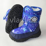 Зимние детские дутики сапоги на зиму для мальчиков синие самолеты 24р.-28р. 2579