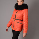 Скидка Шикарная зимняя куртка на холлофайбере с натуральным мехом песца розовая, оранжевая