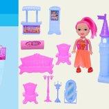 Домик Замок 1108 с куколкой, 9 эл-тов мебели, фигурка, в пакете 21 15 6,5см