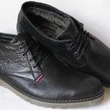 Levi´s зимние черные стильные кожаные мужские ботинки Levis шерсть тепло Левайс