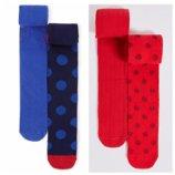 Красные и синие колготочки Marks&Spencer 2 шт в упаковочке