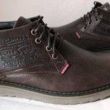 Levis зимние стильные кожаные мужские ботинки супер Левайс в коричневом цвете