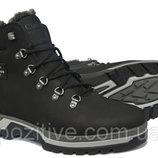 Кожаные мужские зимние ботинки ClubshoesSportwearBlack