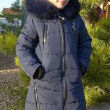 Детская удлиненная куртка-парка с мехом