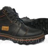 Мужские кожаные зимние ботинки Riccone Black модель R-13