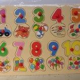 Деревянная логика-пазлы арт 015 Цифры в пакете 29 x 22 x 1 см.