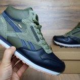 Зимние кроссовки высокие Reebok Classic green