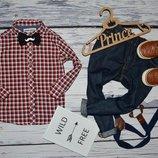 Очень модная фирменная рубашка для мальчика 1 - 2 года 92 см клетка Next некст