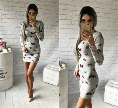 Посведневное тёплое трикотажное платье ангора Мотылёк от р40 по р46